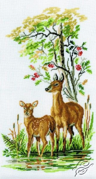 Deer And Young Deer - Cross Stitch Kits by RTO - M109
