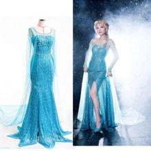 2015 nova moda Hot fantasia de neve congelada Elsa rainha adulto feminina Evening partido do traje Elsa vestidos SZ s - xxl grátis frete(China (Mainland))
