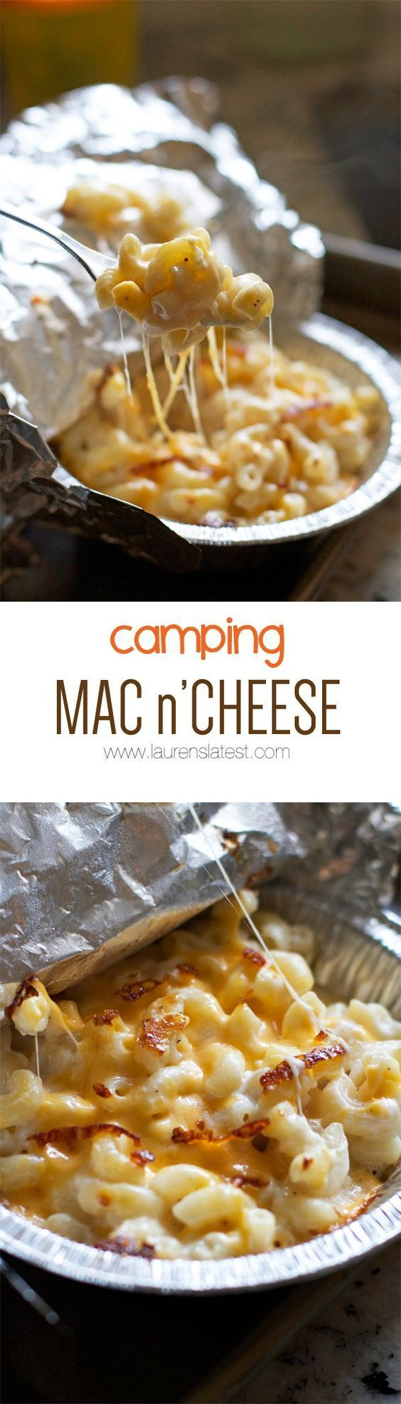 Camping Mac n'Cheese prep at home, divide into individual aluminum foil pans and reheat atop a grate on the campfire = warm gooey comforting goodness