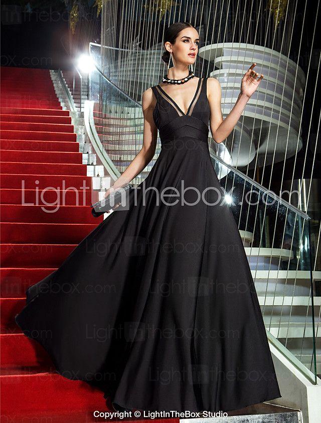 Formeller Abend / Militär Ball Kleid - Vintage inspiriert A-Linie V-Ausschnitt Boden-Länge Jersey mit Seitlich drapiert 2016 - €88.19