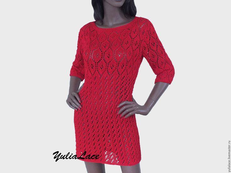 Купить Платье -туника ярко-красного цвета - ярко-красный, платье, платье летнее