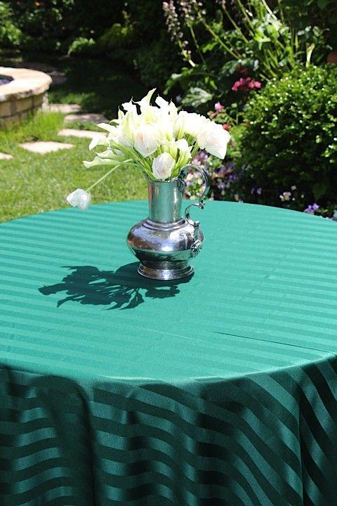 108 X 156 Oval Poly Stripe Tablecloth