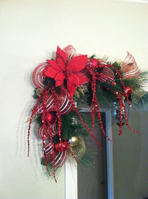 Gold Christmas Swags for Door Frames Mirrors by GreatwoodFlorals