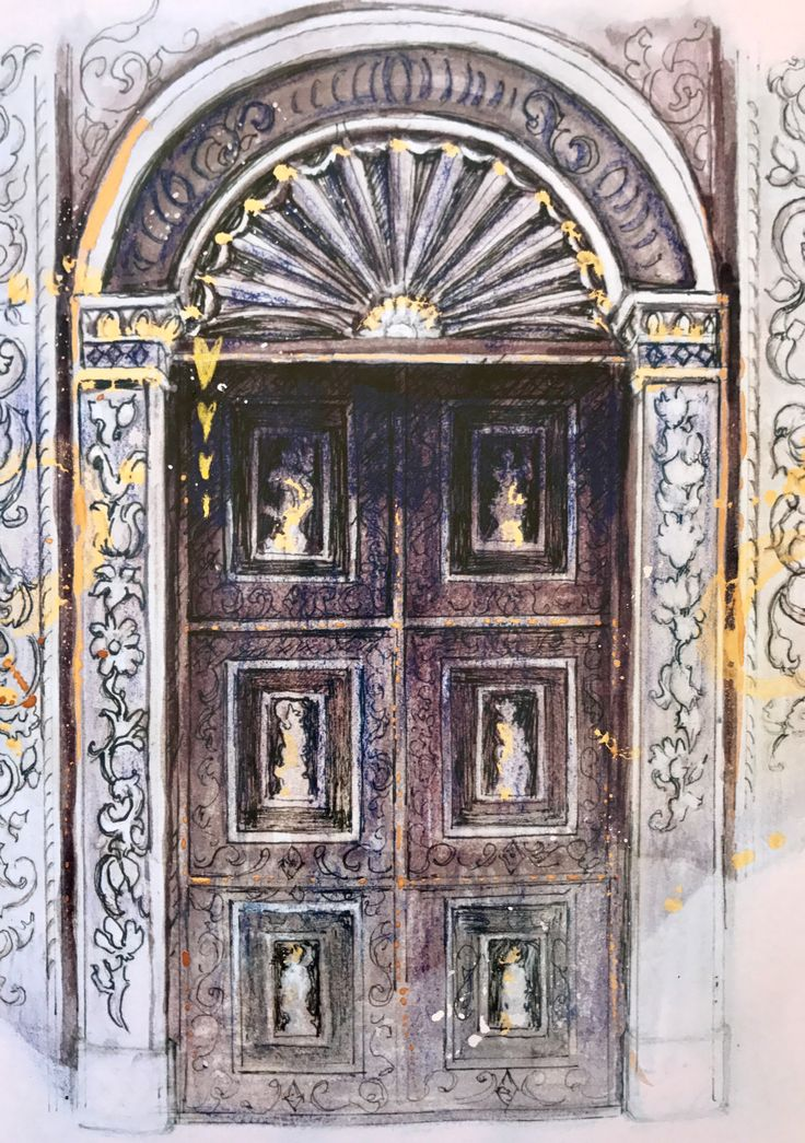 Myanmar temple Door pen and wash by jennymdiamond