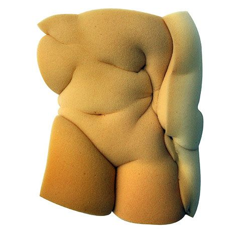 French artist Etienne Gros has nipped and tucked blocks of soft foam to make squidgy nude sculptures