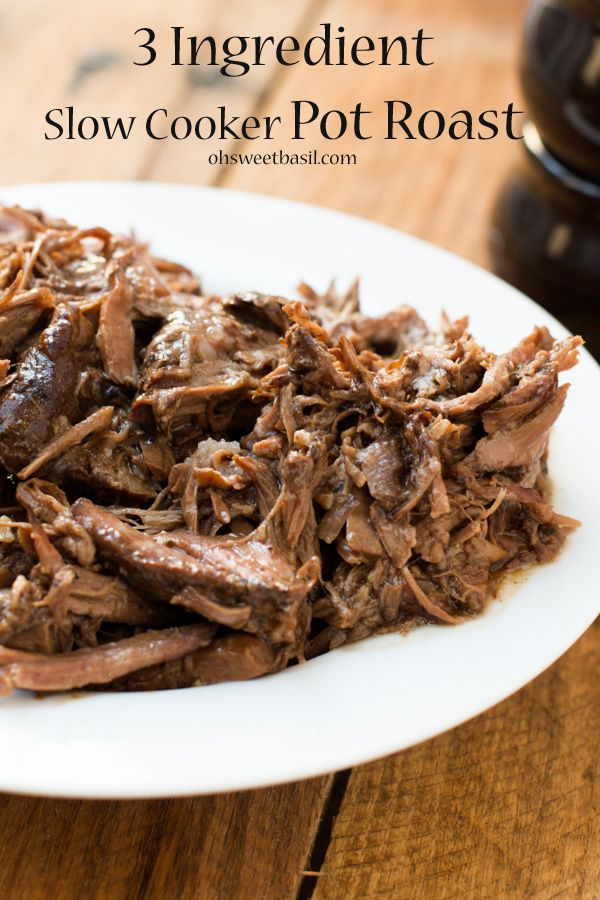 our favorite slow cooker pot roast recipe EVER and even the worst cook can make it.  ohsweetbasil.com