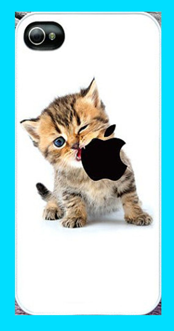 Cute iPhone Case for iPhone 5 - Kitten Eating Apple Logo - Plastic r Case