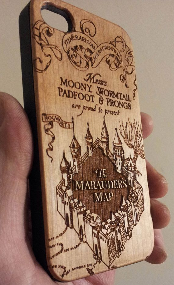 Marauder's Map Wooden Phone Case Harry Potter Inspired by Laser9