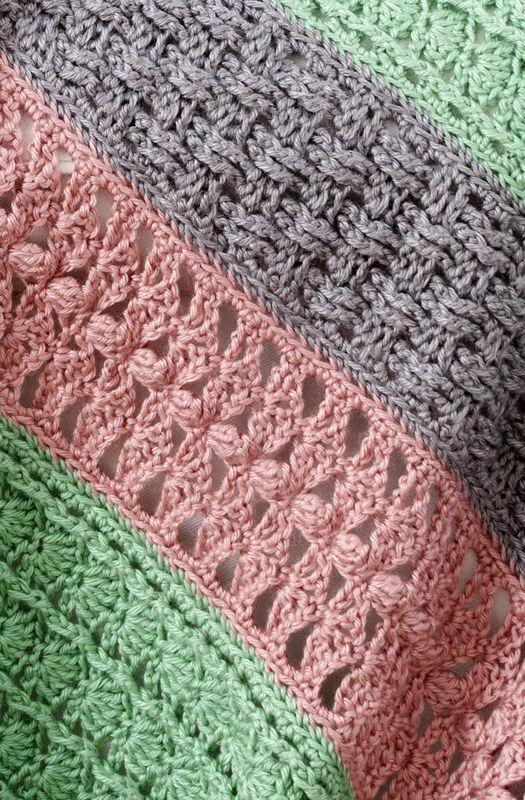 Free Crochet pattern Soft Stripes Throw