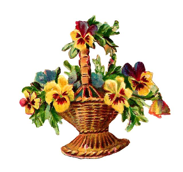 Antique Images: Free Vintage Digital Flower Basket Clip Art of Wicker Basket with Pansies
