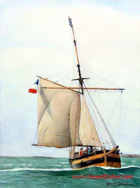 """Aquarelle """"Le Renard 2"""" de Vincent Dufour (50/65cm). A retrouver sur  http://www.vincentdufour.com/blog/aquarelle/ # aquarelle, tableau, vieux gréement, voilier, bateau, Saint Malo,"""