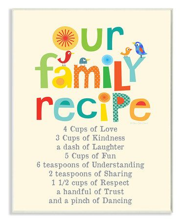 Love this 'Our Family Recipe' Wall Art on #zulily! #zulilyfinds