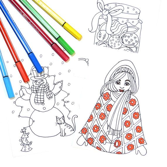DIY Christmas Coloring Cards  Instant Download by IvyLilyArt. 20 Christmas card designs to print, cut and color to make your own Christmas cards!  The pictures vary from Christmas clothes to patterns, candy, animals, crafting supplies, decorations, candles and houses to a Christmas tree, a snowman and a girl in winter clothes.