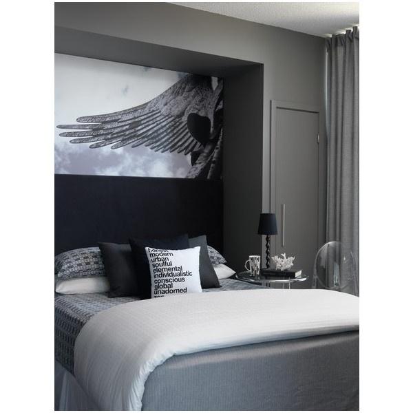 Bedrooms charcoal gray walls bed nook gray bedding black for Charcoal grey bedroom designs