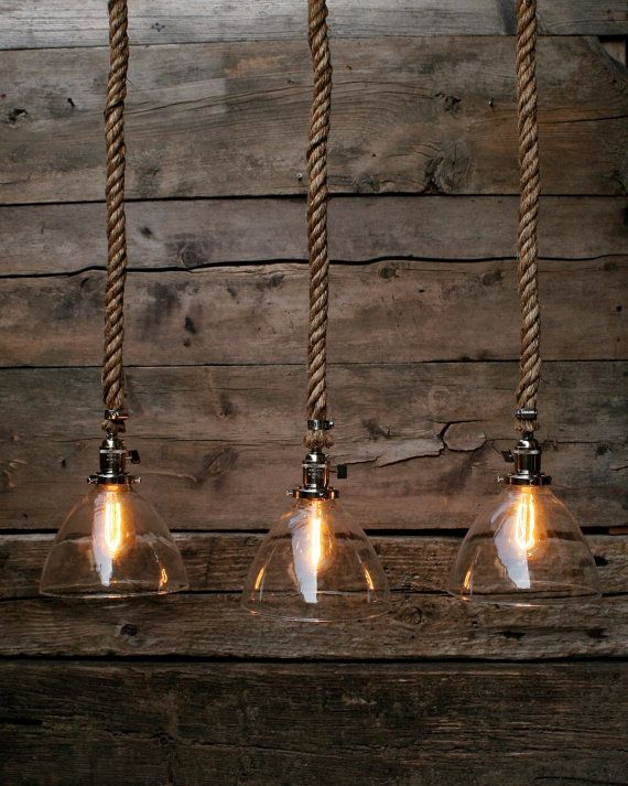 The Silver Snow Pendant Light Industrial Rope by MoonStoneFox