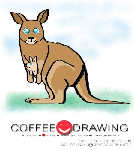 """COFFEE-DRAWING: สอนเด็กวาดรูป PART 59 """" จิงโจ้กับลูกน้อย """""""