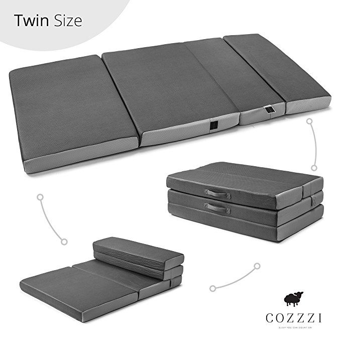 Cozzzi Twin Folding Mattress 4 Thick X 75 X 39 Trifold Foam Mat With Carrying Handles And Removable Washabl Folding Mattress Foldable Mattress Spare Bed