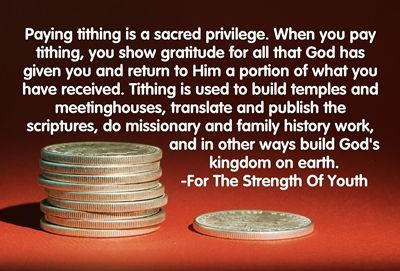 Why do we pay tithing?    Paying tithing is a sacred privilege. When we pay tithing we show gratitude for all that God has given us and return to Him a portion of what we have received. Tithing is used to build temples and meetinghouses, translate and publish the scriptures, do missionary and family history work, and in other ways build God's kingdom on earth.