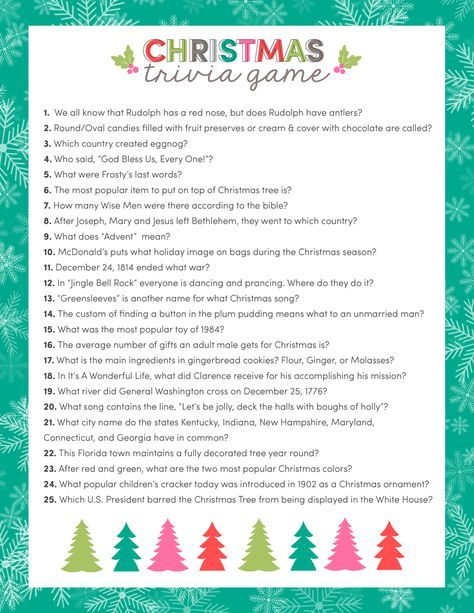 FREE Christmas Trivia Game - just download, print and use for your upcoming Christmas parties and get togethers!