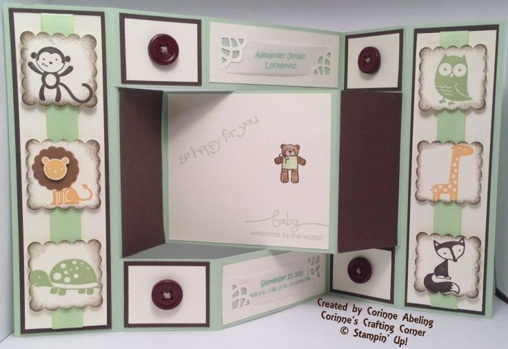 Welcome Baby Boy - inside--Used Fox & Friends (retired), Baby Bundle, A Word For You, and So Happy For You stamp sets. Pistachio, Early Espresso and Very Vanilla CS. Visit my website for more fun ideas! http://www.stampinup.net/esuite/home/corinneabeling/project/albumList.soa