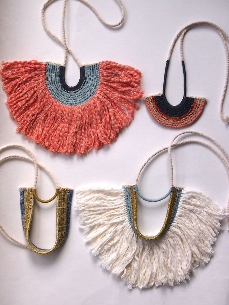 Woven rope necklaces with tassel fringe by Ouchflower