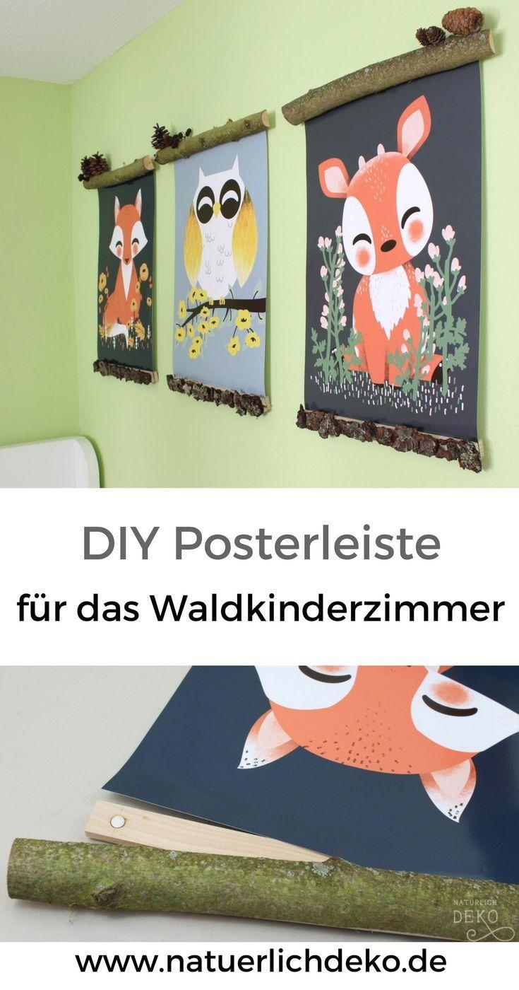 Posterleisten aus Holz für das Waldkinderzimmer basteln
