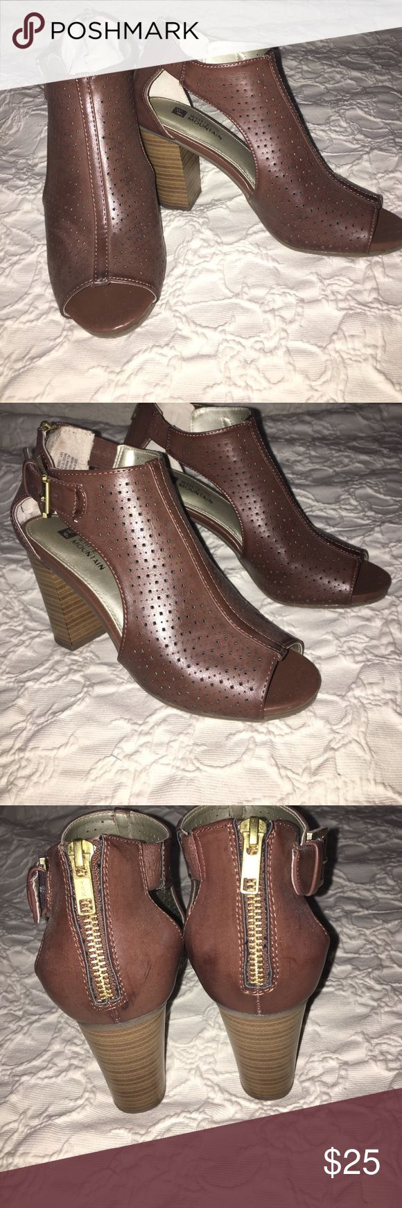 Cute peep toe heeled booties Only worn twice, in great condition. So cute, and comfy! white mountain  Shoes Heeled Boots