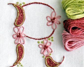 DIY pdf Crewel Embroidery Pattern Monogram F is by PrairieGarden