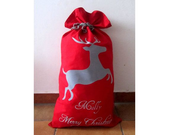 Santa sackXXL Christmas Sack 16 x 27Personalized by Amaiahandmade