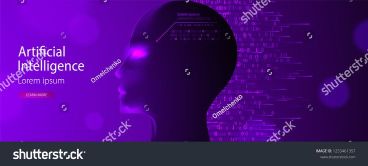 Artificial intelligence (AI) and big data concept. Machine cyber mind. Humen face with binary data flow. Technology vector background.concept#data#cyb…