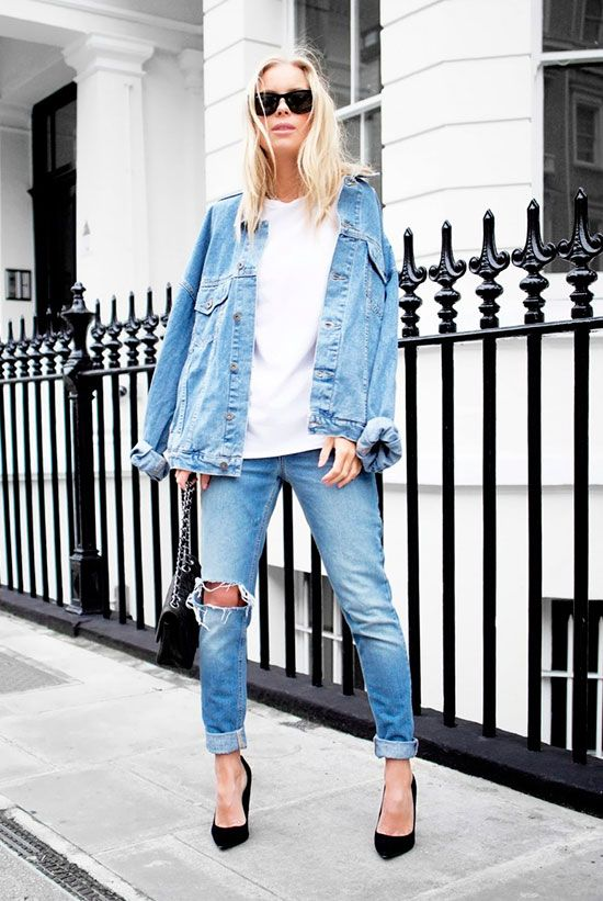 b2f90506ef Denim jacket, white t-shirt, distressed skinny jeans, black heels, black