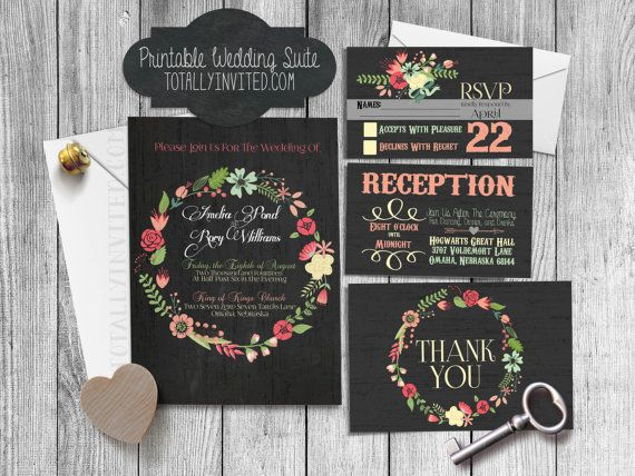 Chalkboard Wedding Invitation Set - antique - distressed - Floral - vintage - Rustic - PRINTABLE, DIY (custom made for you) digital file