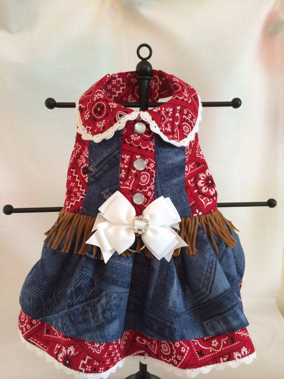 Bandanna and Denim COWGIRL Rodeo Dog Dress by princessamee on Etsy, $55.00