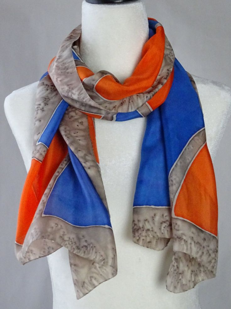 "SALE. Hand Painted Silk Scarf, in orange, blue and taupe, ""Pebbles"", handmade. Approx 15.5X 56 inches by SeesaSilk on Etsy"
