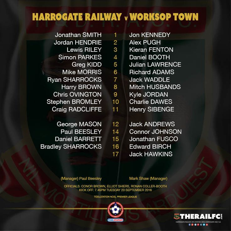 The teams for tonight's game against Worksop Town    @therailfc @worksoptownfc @Howell_RM