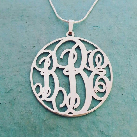 Celebrity Jewelry Custom Made Pendant with Any Initials Personalized Monogram Necklace in Silver