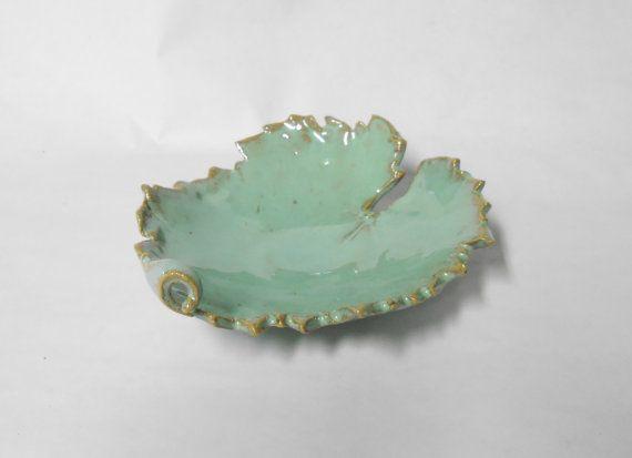 Leaf Dish, Pottery Leaf, Leaf Ring, Grape Leaf Dish, Trinket, Nut Bowl in Turquoise