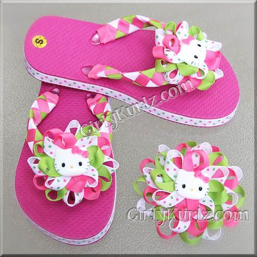 Hello Kitty Woven Flip Flops and Matching Hair Bow