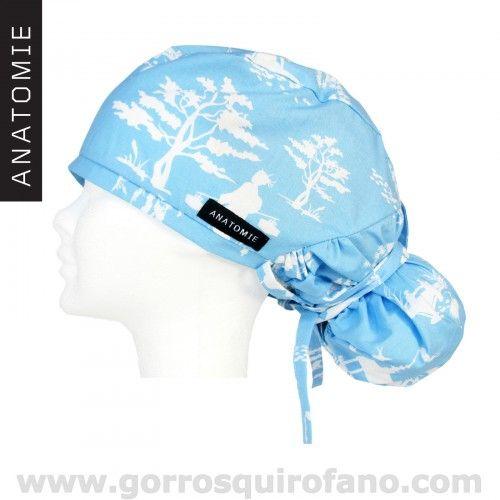 Exclusivos gorros para enfermeras de la marca ANATOMIE en tonos azules con geishas. http://www.gorrosquirofano.com/producto/gorros-enfermeras-anatomie-geisha-azul/
