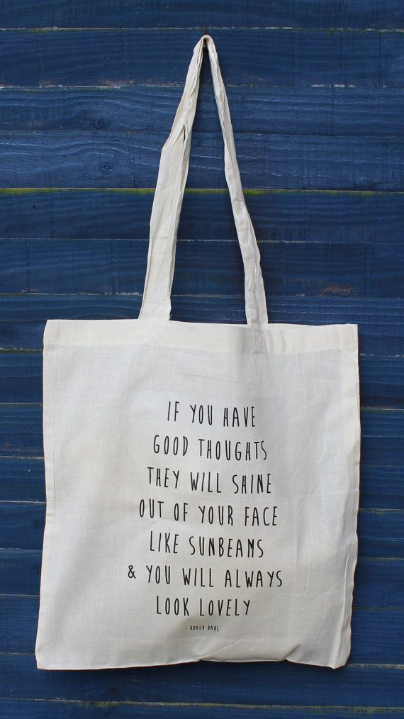 Sunbeam quote tote shopper bag Roald Dahl quote by missharry