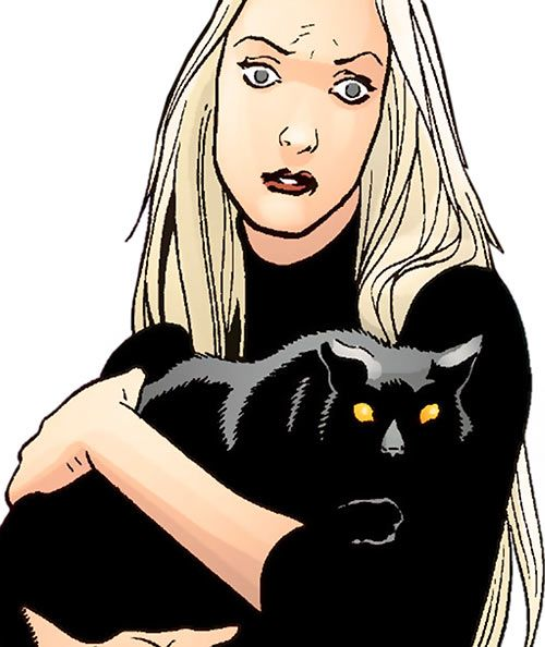 Cassandra Craft (7 Soldiers character) (DC Comics) with her cat. From http://www.writeups.org/cassandra-craft-dc-comics-7-soldiers-phantom-stranger/