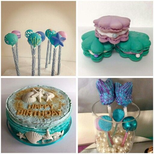 baby shower under the sea little mermaid macarons cake pops cake