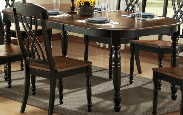 Dining Room. Outstanding Black Brown Dining Table Design Ideas. Awesome Black Stained Wooden Dining Table With Wooden On Top Featuring Black Stained Solid Wood Chair With Brown Wooden Seat And Grey Rug