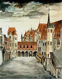 Альбрехт Дюрер. Дворик замка в Инсбруке. Акварель. 1494. Вена, Альбертина