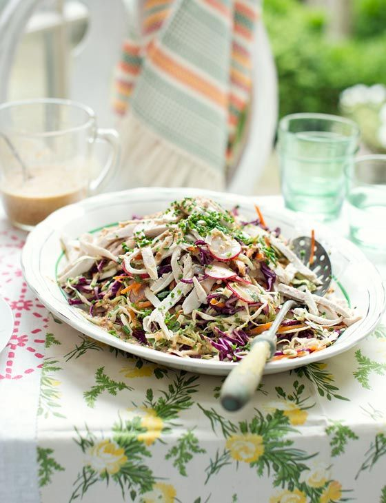 Hemsley and Hemsley's Japanese chicken coleslaw with ginger almond dressing - gluten free!