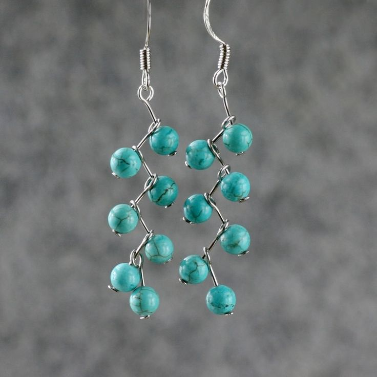 Turquoiae zigzag dangle Earrings handmade by AnniDesignsllc, $12.95