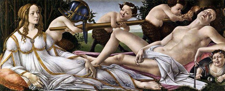 """BOTTICELLI. """"Venere e Marte"""". tecnica mista su tavola. 69x173 cm. 1482-1483 circa. National Gallery, Londra."""