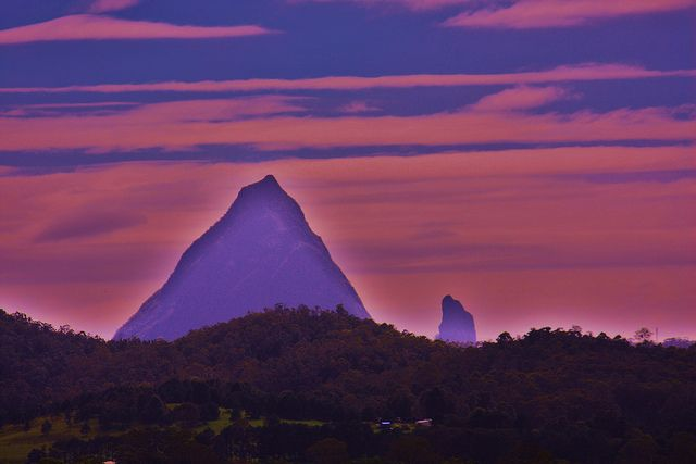 About Coonoowrin, Beerwah, Jaws of Death and the Three Sisters - Australia - A thoughtful reflection of Mt Beerwah in the Glasshouse Country Hinterland