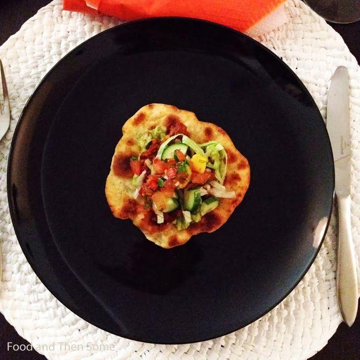 Tostadas with Guacamole, Fruity tomato salsa, Bean dip, sour cream and veggies!
