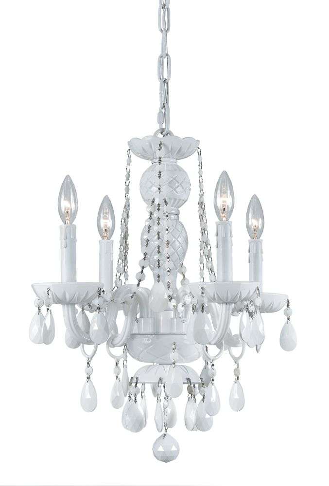 Mejores 69 imgenes de crystal chandeliers en pinterest envogue collection 4 light mini chandeliers with white colored hand polished crystals shown in wet white aloadofball Gallery
